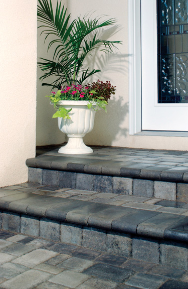 Bullnose landscaping units make attractive and functional stair treads