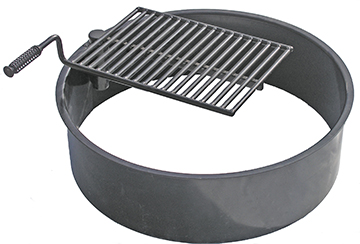 Sturdy metal fire ring insert with optional swing-away cooking grate