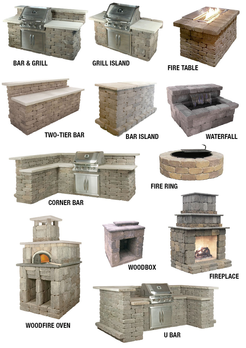 Ledgestone Outdoor Kits: Fireplace, Grill Island, Fire Table and more