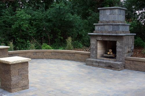 A fireplace is a must for all-season outdoor living.