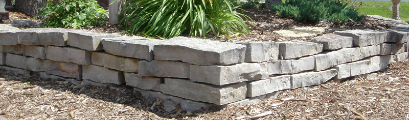 Wall stone raised bed for planting