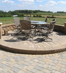 Elevated paver patio with seat wall